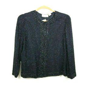 Laurence Kazar Women Blouse Long Sleeve Silk Black